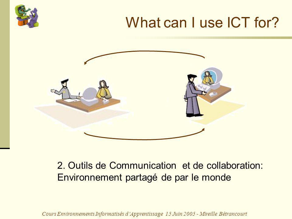 Cours Environnements Informatisés dApprentissage 15 Juin 2005 - Mireille Bétrancourt What can I use ICT for? 2. Outils de Communication et de collabor