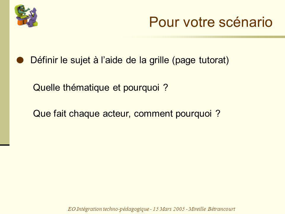 EO Intégration techno-pédagogique - 15 Mars 2005 - Mireille Bétrancourt Que fait chaque acteur, comment pourquoi .