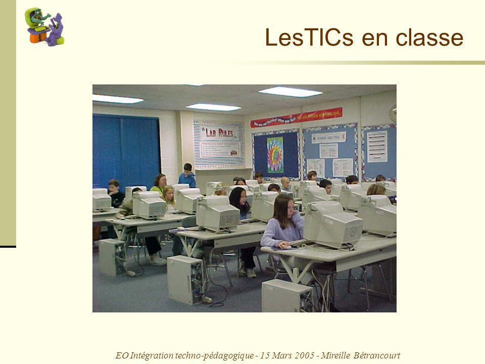 EO Intégration techno-pédagogique - 15 Mars 2005 - Mireille Bétrancourt Usages des TIC en classe 4.