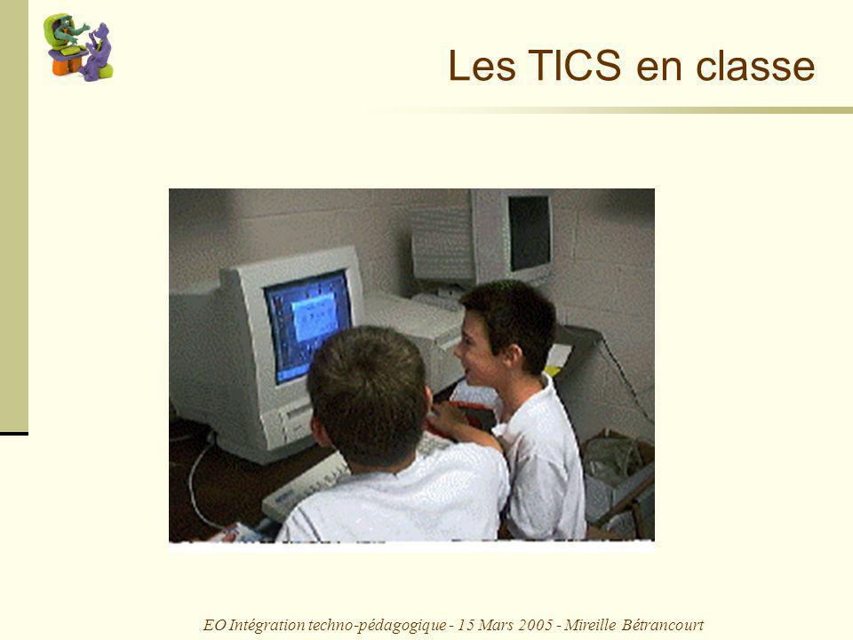 EO Intégration techno-pédagogique - 15 Mars 2005 - Mireille Bétrancourt Usages des TIC en classe 1.