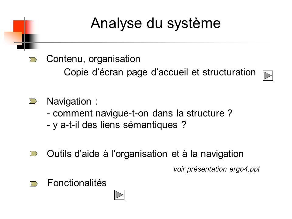 Analyse du système Contenu, organisation Navigation : - comment navigue-t-on dans la structure .
