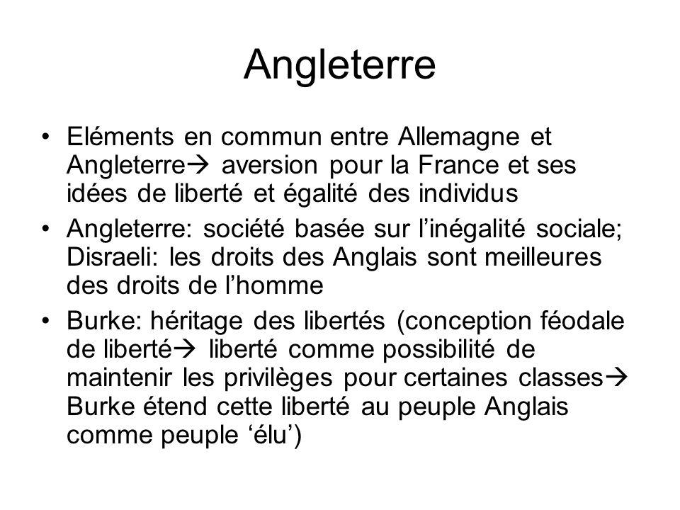 Angleterre Eléments en commun entre Allemagne et Angleterre aversion pour la France et ses idées de liberté et égalité des individus Angleterre: socié