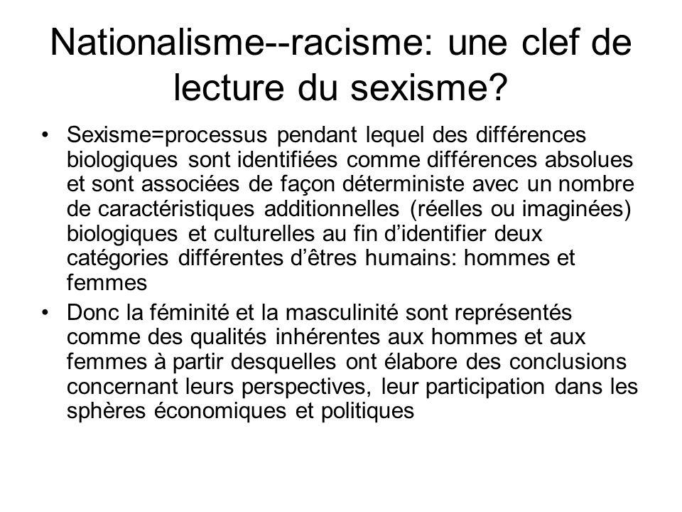 Nationalisme--racisme: une clef de lecture du sexisme? Sexisme=processus pendant lequel des différences biologiques sont identifiées comme différences