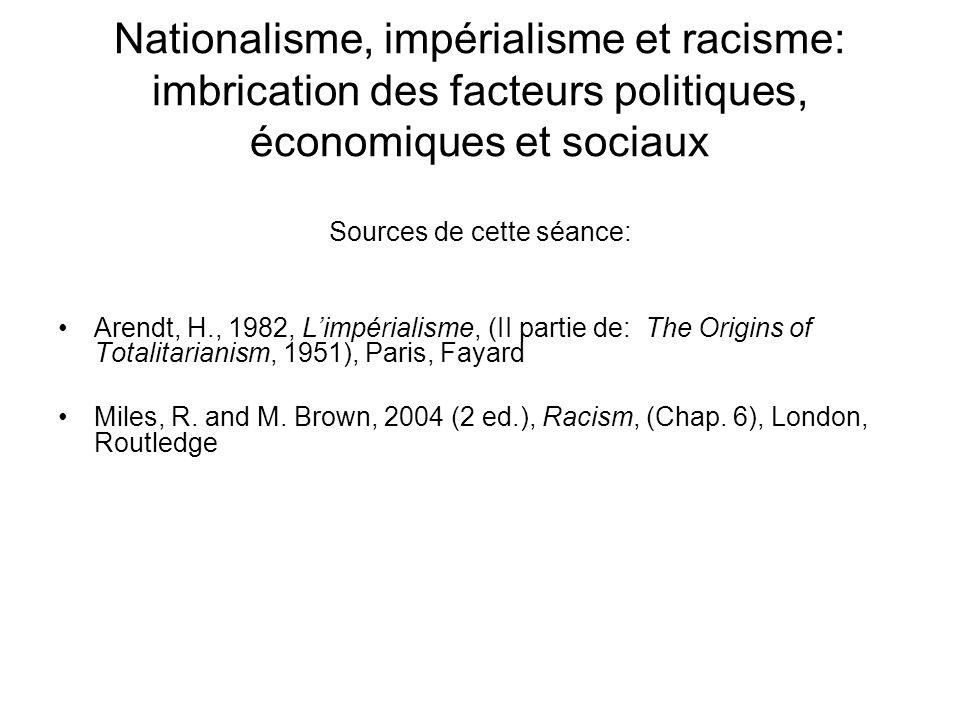 Nationalisme, impérialisme et racisme: imbrication des facteurs politiques, économiques et sociaux Sources de cette séance: Arendt, H., 1982, Limpéria