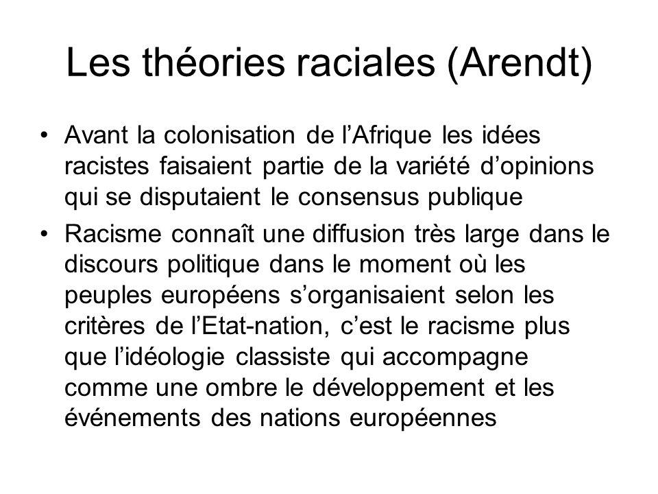 Les théories raciales (Arendt) Avant la colonisation de lAfrique les idées racistes faisaient partie de la variété dopinions qui se disputaient le con