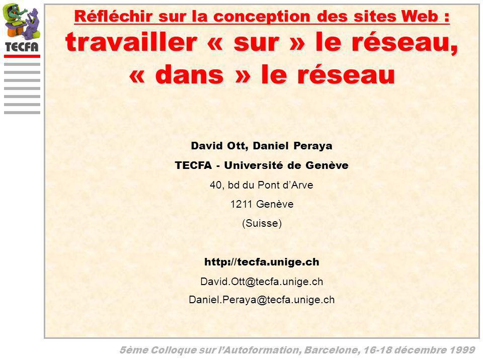 5ème Colloque sur lAutoformation, Barcelone, 16-18 décembre 1999 Réfléchir sur la conception des sites Web : travailler « sur » le réseau, « dans » le