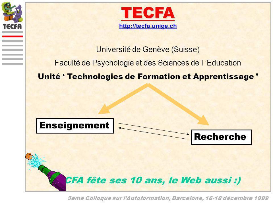 5ème Colloque sur lAutoformation, Barcelone, 16-18 décembre 1999 TECFAhttp://tecfa.unige.ch TECFA fête ses 10 ans, le Web aussi :) Université de Genèv
