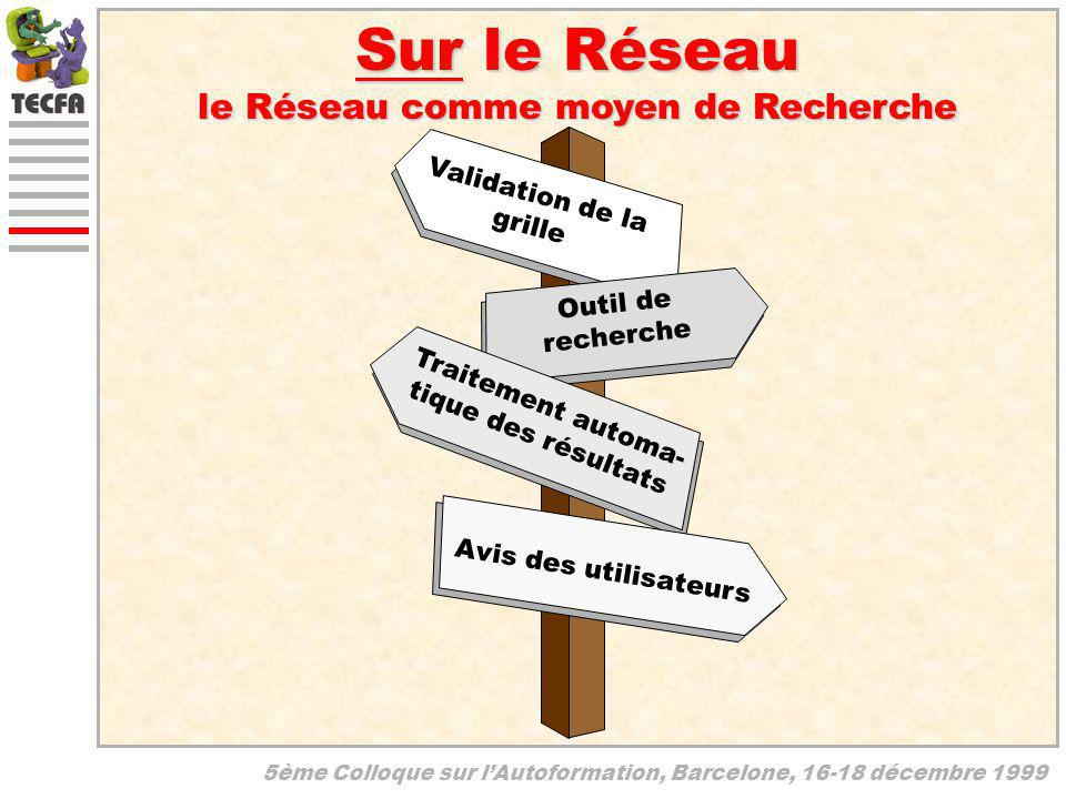 5ème Colloque sur lAutoformation, Barcelone, 16-18 décembre 1999 Sur le Réseau le Réseau comme moyen de Recherche Validation de la grille Outil de rec