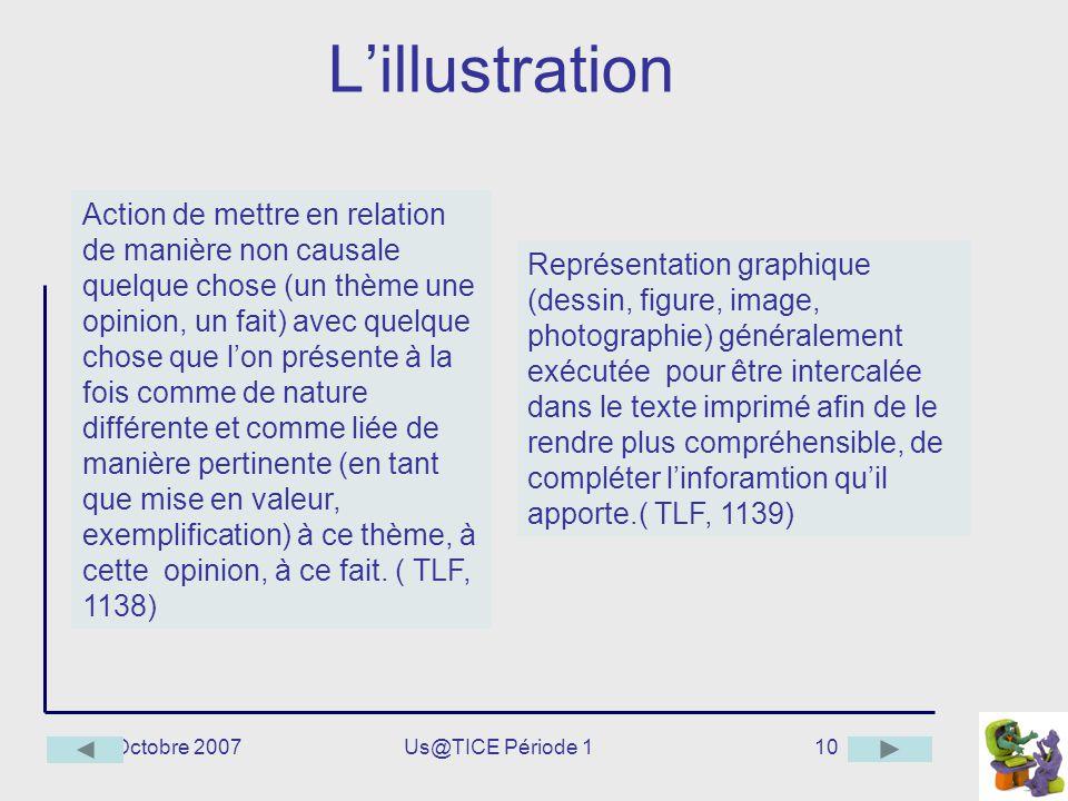 Octobre 2007Us@TICE Période 110 Lillustration Action de mettre en relation de manière non causale quelque chose (un thème une opinion, un fait) avec q