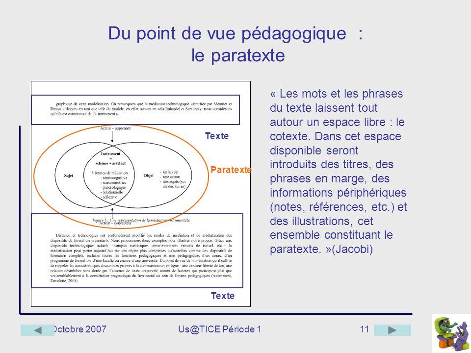 Octobre 2007Us@TICE Période 111 Du point de vue pédagogique : le paratexte « Les mots et les phrases du texte laissent tout autour un espace libre : l