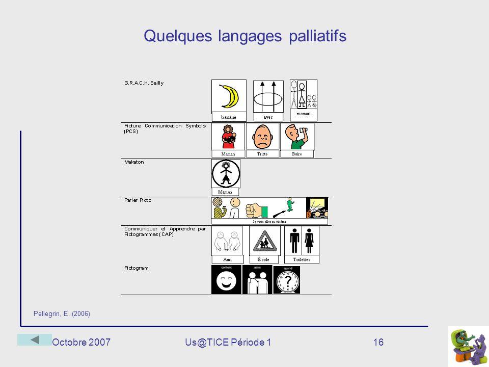 Octobre 2007Us@TICE Période 116 Quelques langages palliatifs Pellegrin, E. (2006)
