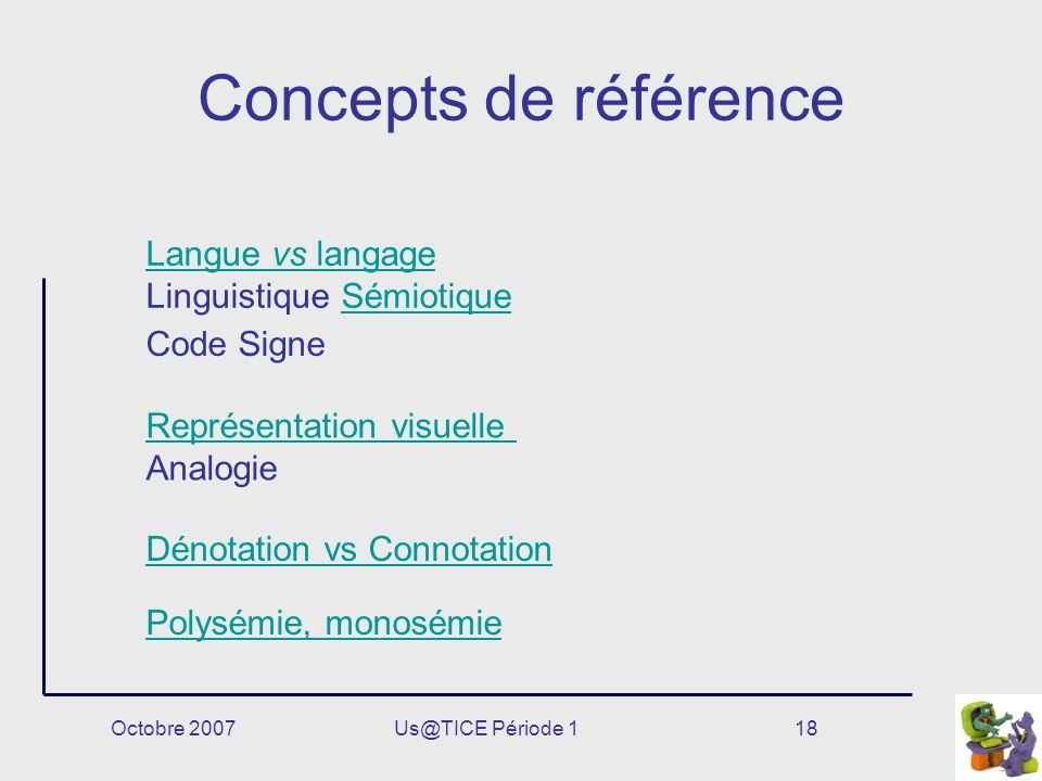 Octobre 2007Us@TICE Période 118 Concepts de référence Code Signe Langue vs langage Langue vs langage Linguistique SémiotiqueSémiotique Dénotation vs C