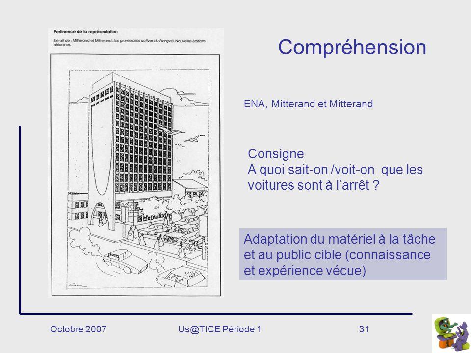 Octobre 2007Us@TICE Période 131 Compréhension Adaptation du matériel à la tâche et au public cible (connaissance et expérience vécue) ENA, Mitterand e