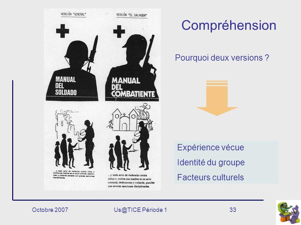 Octobre 2007Us@TICE Période 133 Compréhension Expérience vécue Identité du groupe Facteurs culturels Pourquoi deux versions ?
