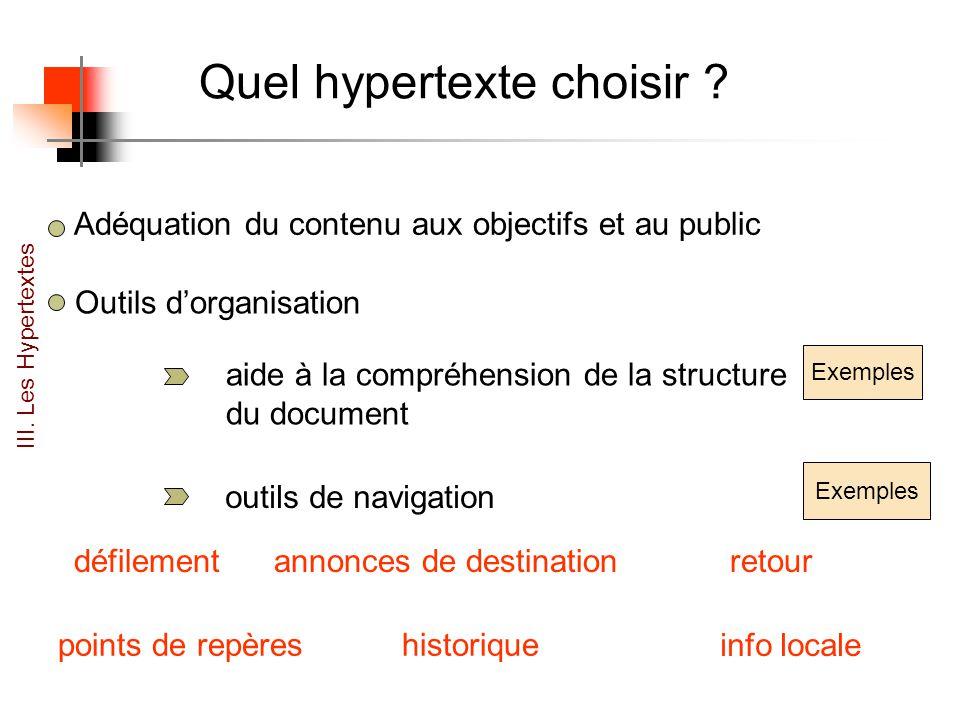 Quel hypertexte choisir .