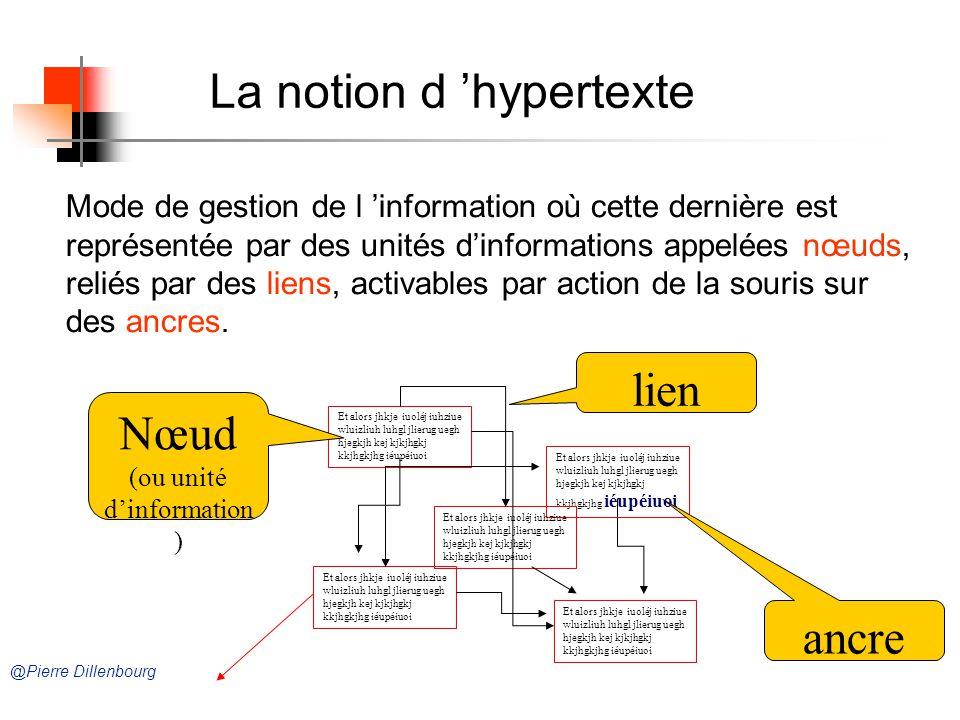 Mode de gestion de l information où cette dernière est représentée par des unités dinformations appelées nœuds, reliés par des liens, activables par action de la souris sur des ancres.