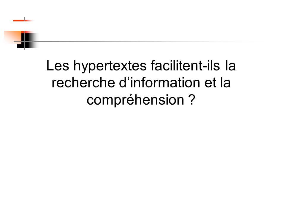 Les hypertextes facilitent-ils la recherche dinformation et la compréhension ?