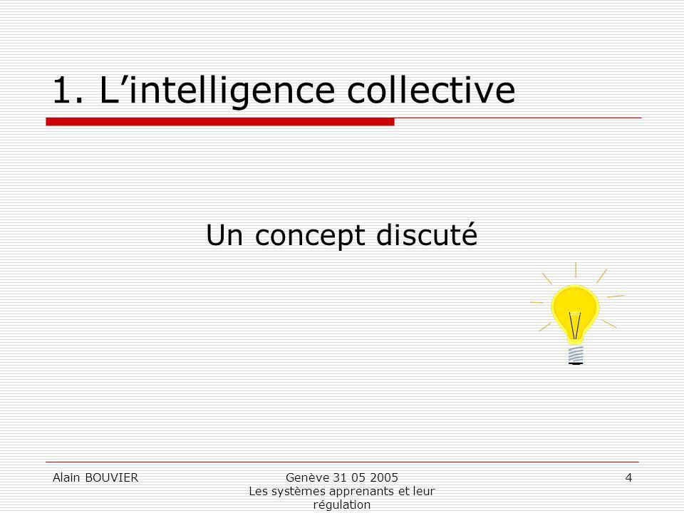 Alain BOUVIERGenève 31 05 2005 Les systèmes apprenants et leur régulation 4 1. Lintelligence collective Un concept discuté