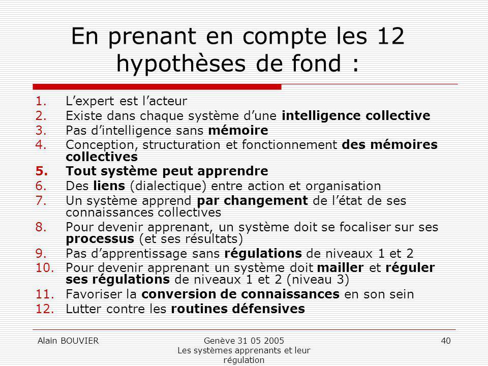 Alain BOUVIERGenève 31 05 2005 Les systèmes apprenants et leur régulation 40 En prenant en compte les 12 hypothèses de fond : 1.Lexpert est lacteur 2.