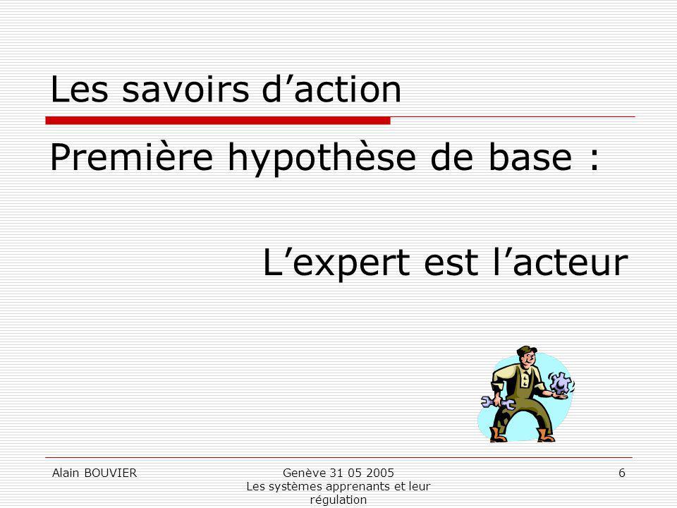 Alain BOUVIERGenève 31 05 2005 Les systèmes apprenants et leur régulation 6 Les savoirs daction Première hypothèse de base : Lexpert est lacteur
