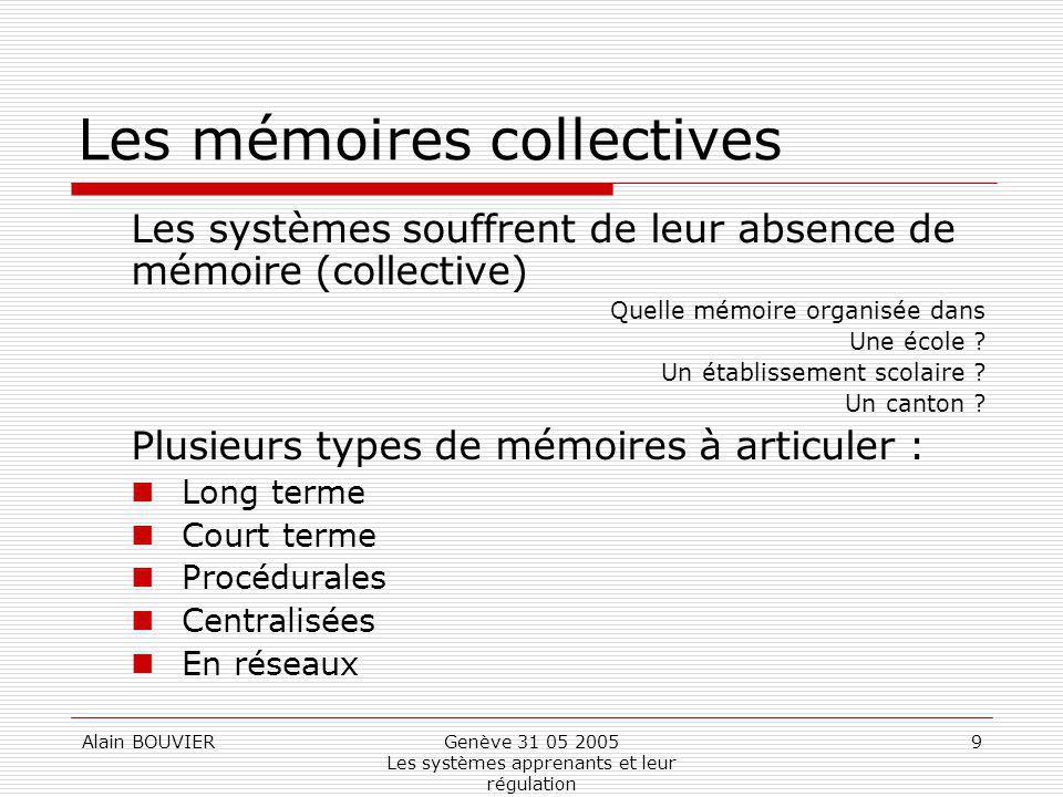 Alain BOUVIERGenève 31 05 2005 Les systèmes apprenants et leur régulation 9 Les mémoires collectives Les systèmes souffrent de leur absence de mémoire (collective) Quelle mémoire organisée dans Une école .