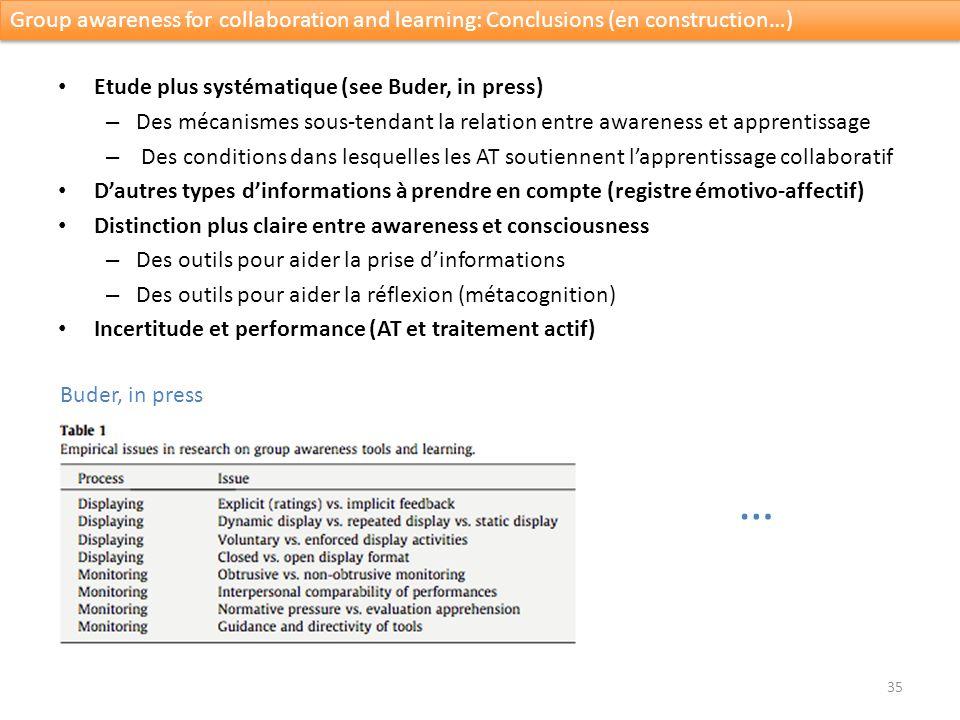 Etude plus systématique (see Buder, in press) – Des mécanismes sous-tendant la relation entre awareness et apprentissage – Des conditions dans lesquel