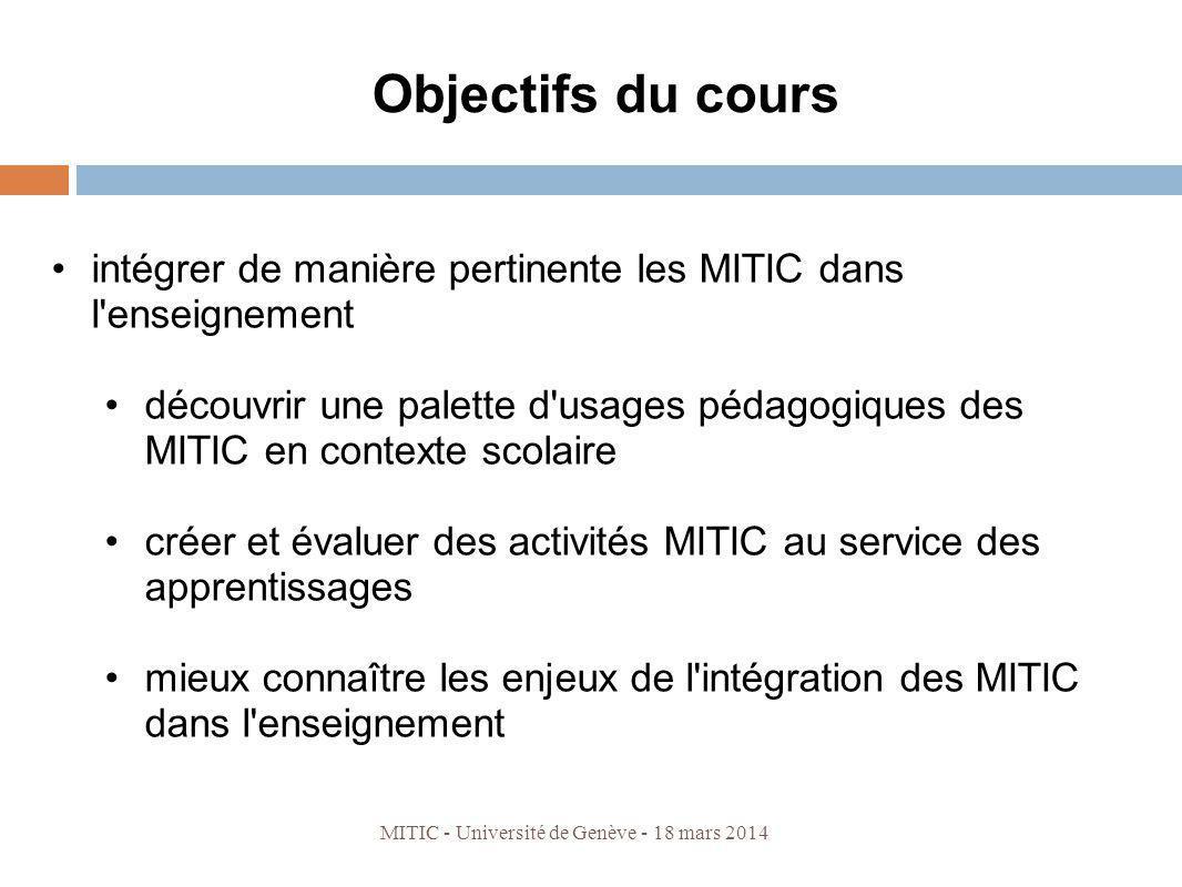 Objectifs du cours intégrer de manière pertinente les MITIC dans l'enseignement découvrir une palette d'usages pédagogiques des MITIC en contexte scol