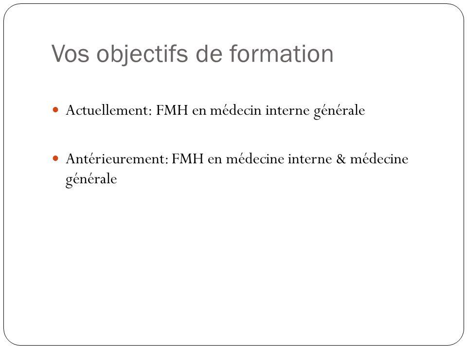 Vos objectifs de formation Actuellement: FMH en médecin interne générale Antérieurement: FMH en médecine interne & médecine générale