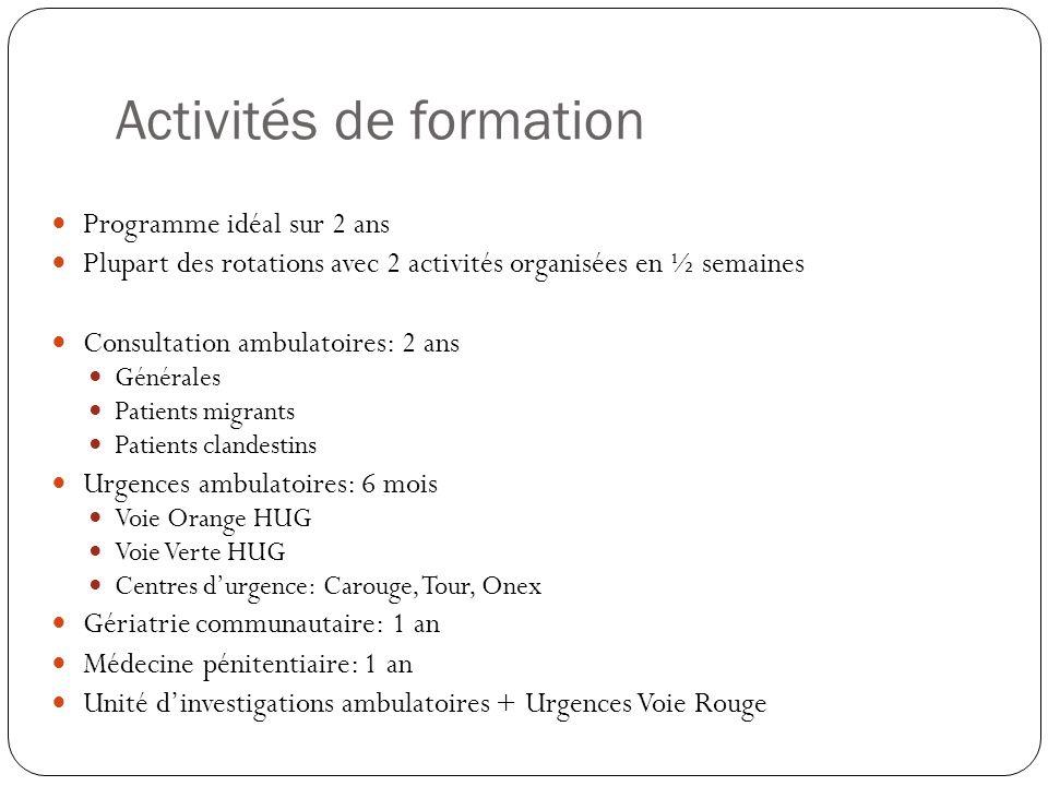 Activités de formation Programme idéal sur 2 ans Plupart des rotations avec 2 activités organisées en ½ semaines Consultation ambulatoires: 2 ans Géné