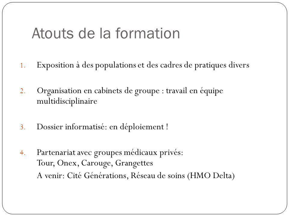 Atouts de la formation 1.Exposition à des populations et des cadres de pratiques divers 2.