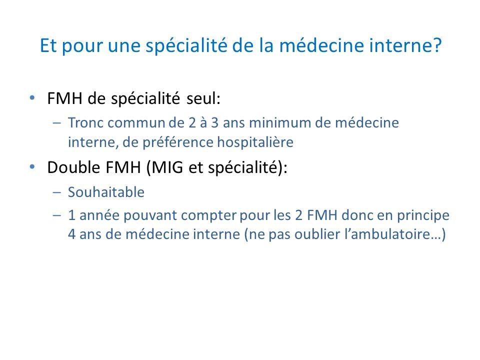 Et pour une spécialité de la médecine interne? FMH de spécialité seul: –Tronc commun de 2 à 3 ans minimum de médecine interne, de préférence hospitali