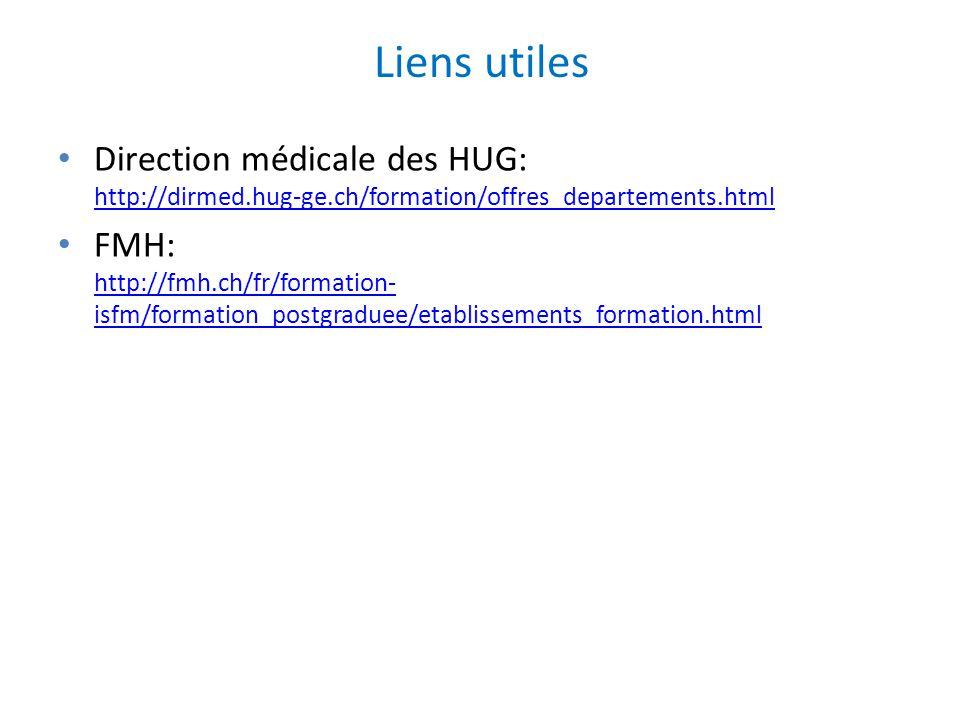 Liens utiles Direction médicale des HUG: http://dirmed.hug-ge.ch/formation/offres_departements.html http://dirmed.hug-ge.ch/formation/offres_departeme