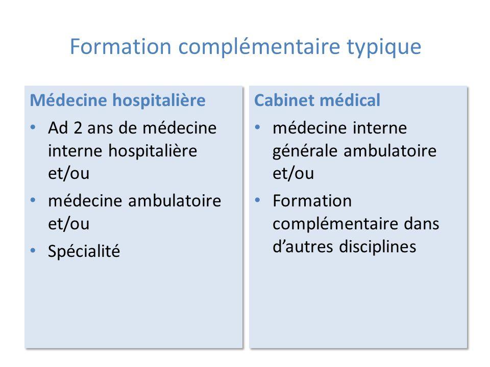 Formation complémentaire typique Médecine hospitalière Ad 2 ans de médecine interne hospitalière et/ou médecine ambulatoire et/ou Spécialité Médecine