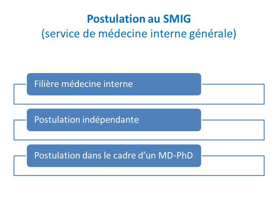 Postulation au SMIG (service de médecine interne générale) Filière médecine internePostulation indépendantePostulation dans le cadre dun MD-PhD