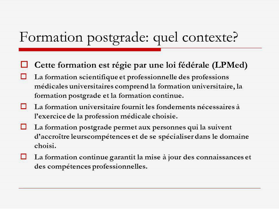 Formation postgrade: quel contexte? Cette formation est régie par une loi fédérale (LPMed) La formation scientifique et professionnelle des profession