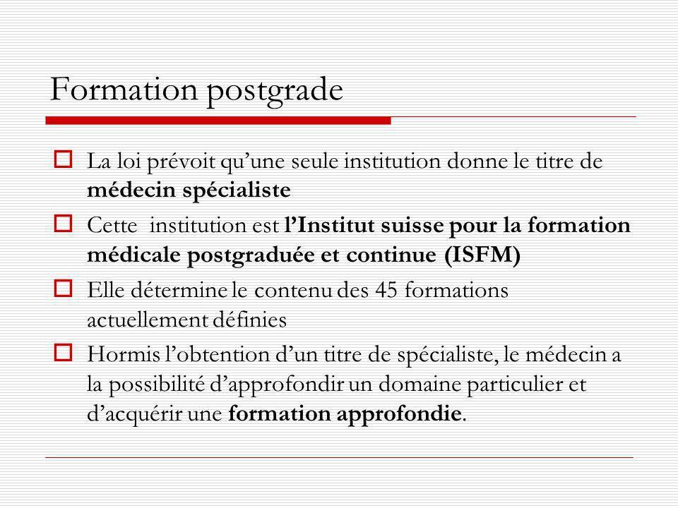 Formation postgrade http://www.fmh.ch/fr/formation-isfm.html