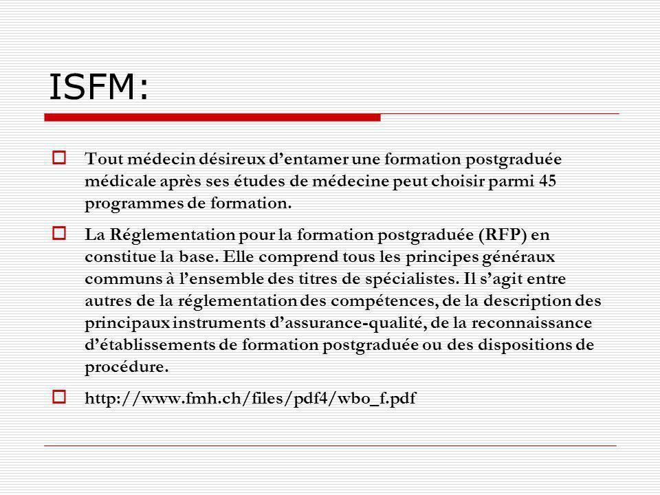 ISFM Hormis lobtention dun titre de spécialiste, le médecin a la possibilité dapprofondir un domaine particulier et dacquérir une formation approfondie.