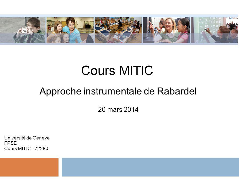 Cours MITIC Approche instrumentale de Rabardel 20 mars 2014 Université de Genève FPSE Cours MITIC - 72280