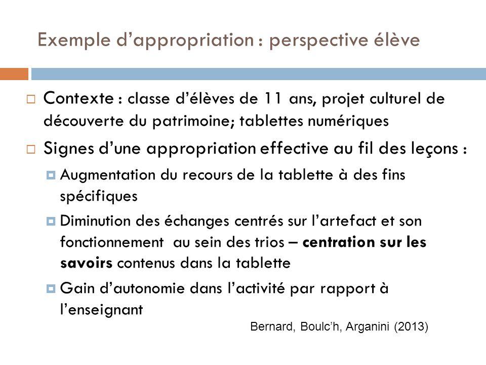 Exemple dappropriation : perspective élève Contexte : classe délèves de 11 ans, projet culturel de découverte du patrimoine; tablettes numériques Sign