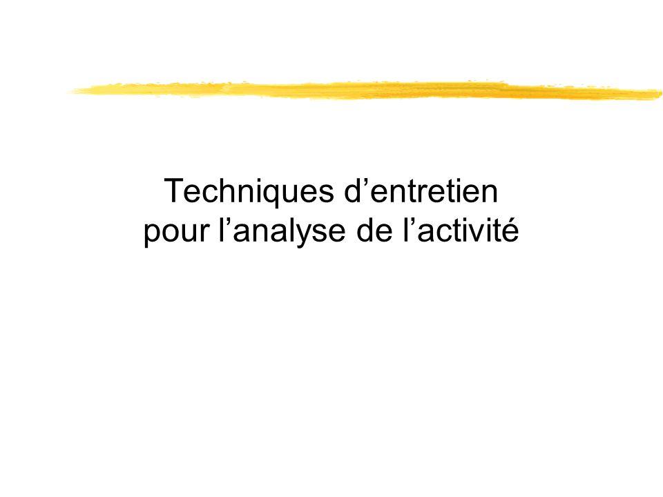 Techniques dentretien pour lanalyse de lactivité