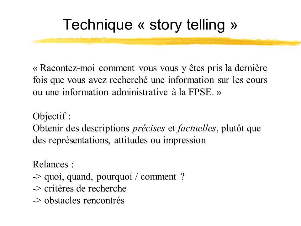 Technique « story telling » « Racontez-moi comment vous vous y êtes pris la dernière fois que vous avez recherché une information sur les cours ou une