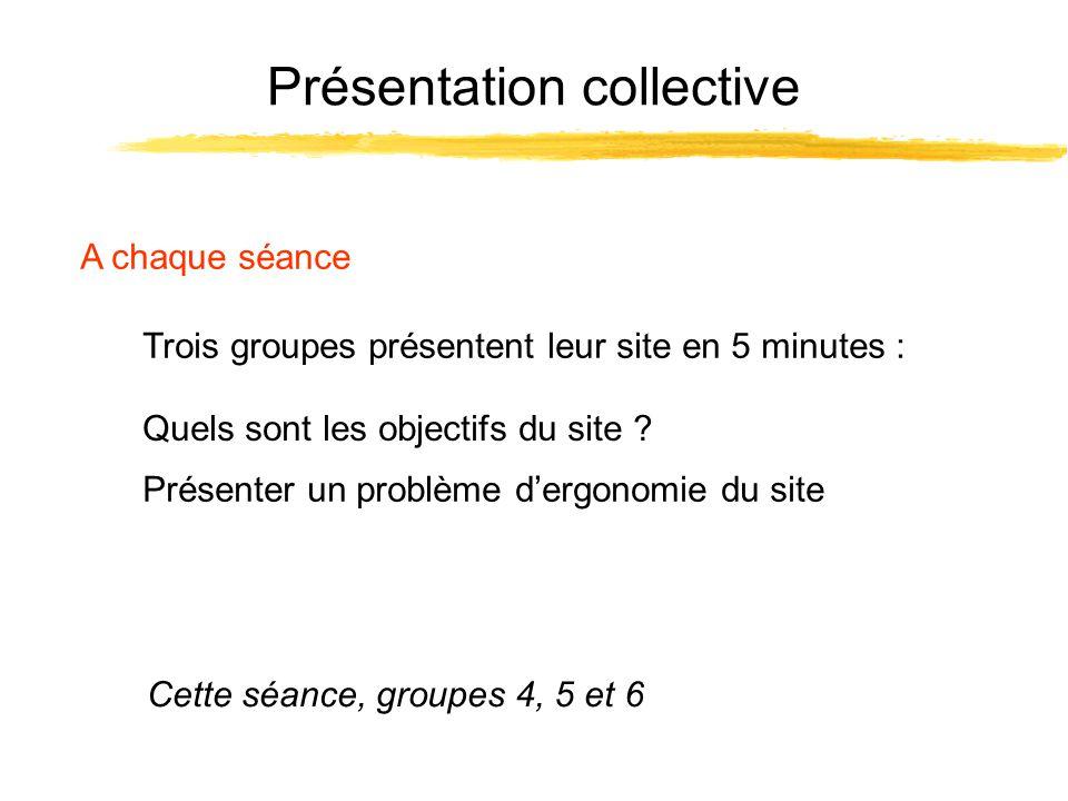 Présentation collective A chaque séance Trois groupes présentent leur site en 5 minutes : Cette séance, groupes 4, 5 et 6 Présenter un problème dergon