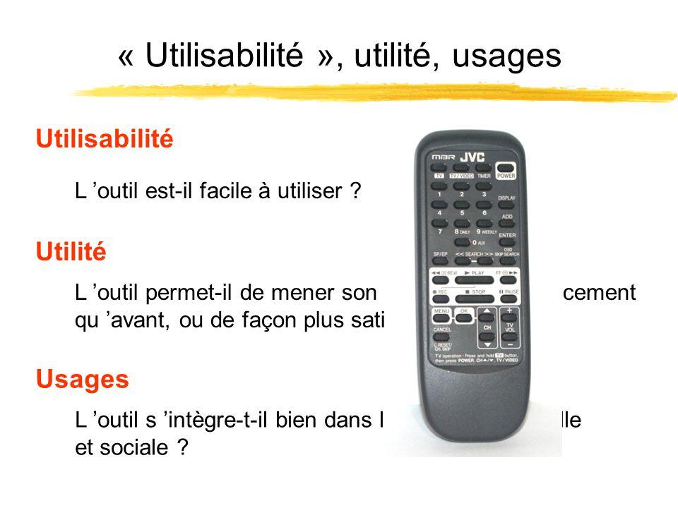 « Utilisabilité », utilité, usages L outil permet-il de mener son activité plus efficacement qu avant, ou de façon plus satisfaisante ? Utilité L outi