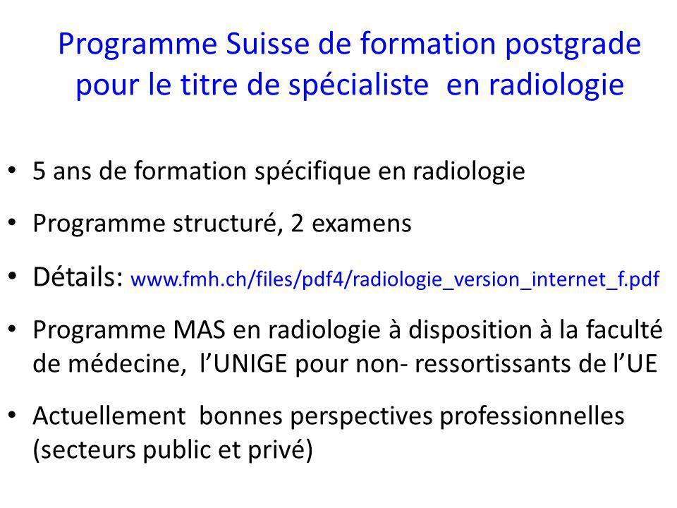 HUG Service de radiologie des HUG= établissement de catégorie A (5 ans) Descriptif complet sous www.fmh.ch/files/pdf4/ www.fmh.ch/files/pdf4/ radhug_wbk.pdf (concept de formation en radiologie HUG) Responsable: Prof C.