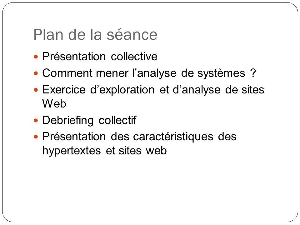Plan de la séance Présentation collective Comment mener lanalyse de systèmes .