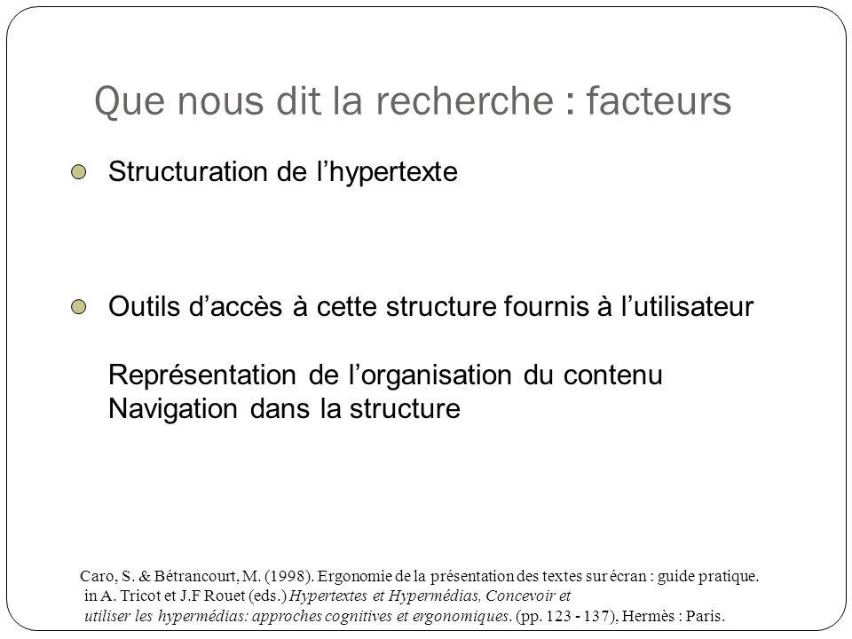 Que nous dit la recherche : facteurs Structuration de lhypertexte Outils daccès à cette structure fournis à lutilisateur Représentation de lorganisati