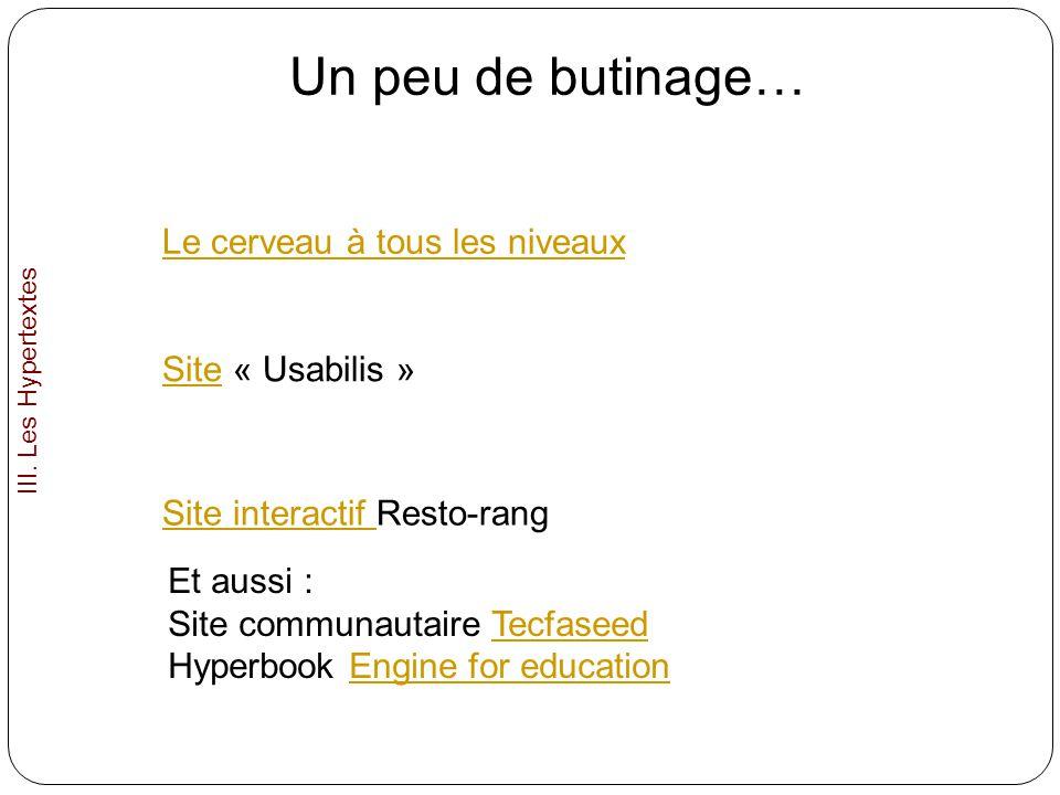 Le cerveau à tous les niveaux Un peu de butinage… SiteSite « Usabilis » Site interactif Site interactif Resto-rang III. Les Hypertextes Et aussi : Sit