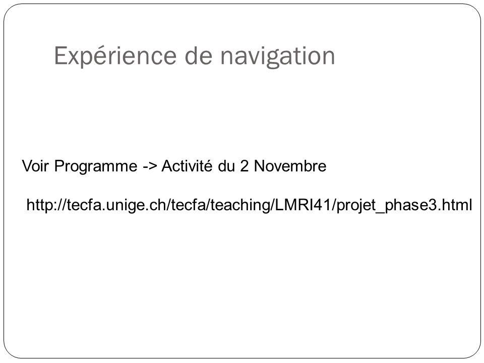 Expérience de navigation Voir Programme -> Activité du 2 Novembre http://tecfa.unige.ch/tecfa/teaching/LMRI41/projet_phase3.html