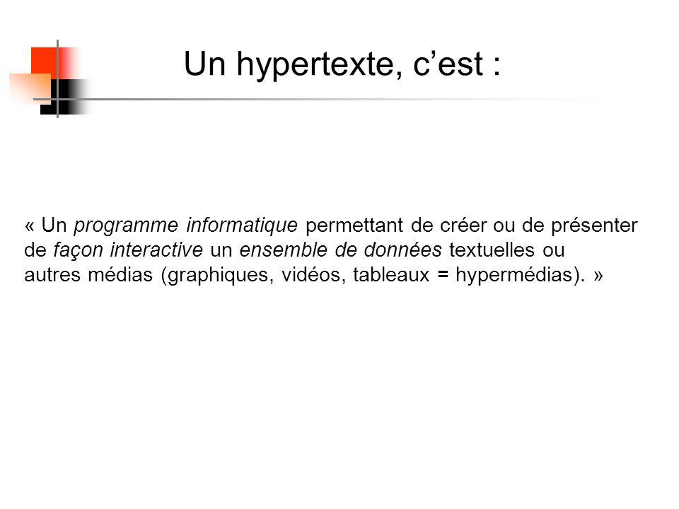 Un hypertexte, cest : « Un programme informatique permettant de créer ou de présenter de façon interactive un ensemble de données textuelles ou autres médias (graphiques, vidéos, tableaux = hypermédias).