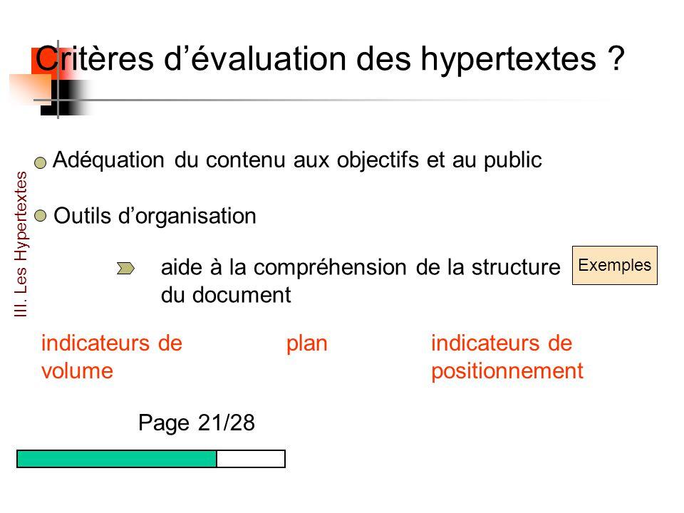 Critères dévaluation des hypertextes .